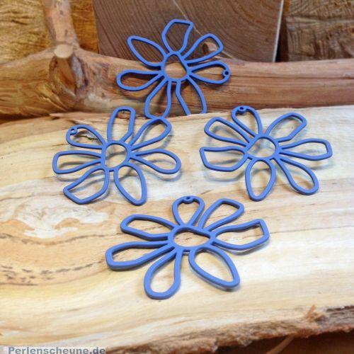 1 Metallanhänger rot matt 52 mm Blume blau
