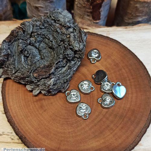 10 Metallanhänger Herz Charms antik Strass 11 mm Loch 1,5 mm
