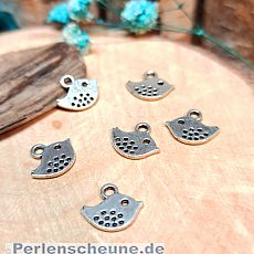 6 Metallanhänger Vogel Charms antik silber 11 mm Loch 1,5 mm