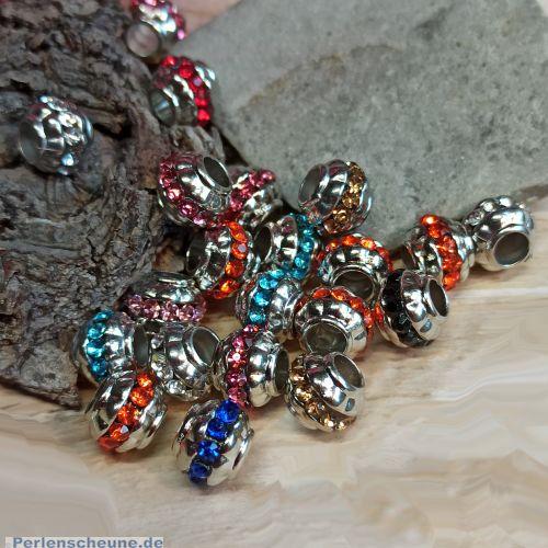 Set mit 10 Modulen mit Strass Grosslochperlen 10,5 mm Loch 4,5 mm