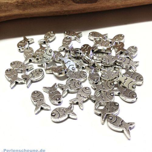 10 Metallperlen Fisch Spacerperlen antik silber massiv 12 mm