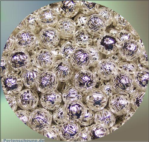 Set mit 20 filigranen Metall Perlen Metallspacer 10 mm silber