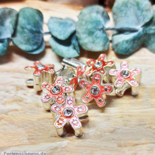 6 Metallperlen Grosslochperlen Blume Emaille Strass antik silber 14 mm