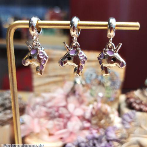 Set mit 2 Metallperlen Dangel Grosslochperlen Einhorn lila antik silber 25 mm
