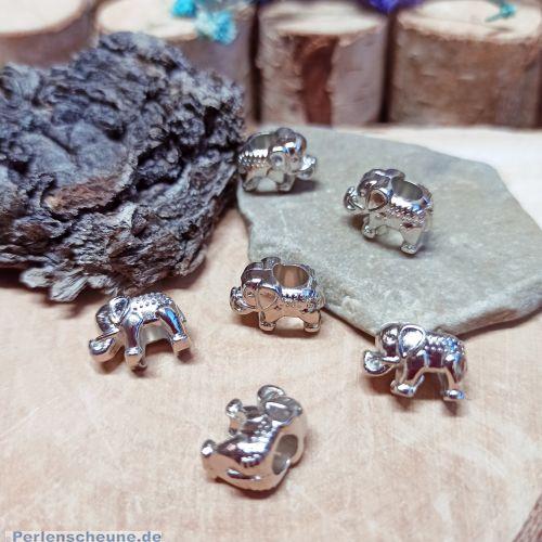 Set 10 Grosslochperlen Elefant silber 14 mm