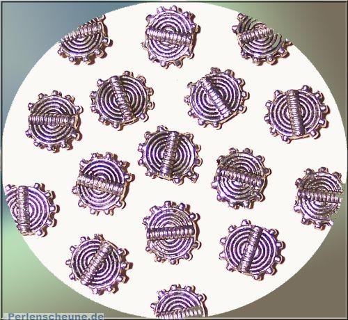 Set 20 Perlen Metallspacer Sonne Spirale silber 9 mm