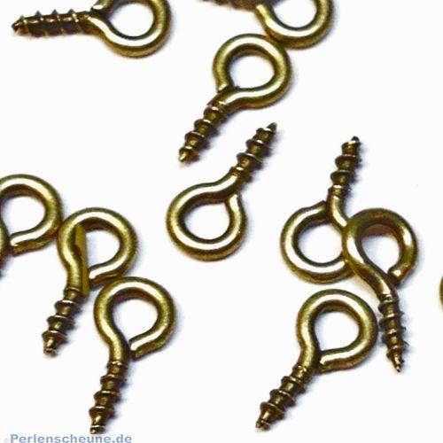 20 kleine Schrauben für Schmuck u.a. bronze antik 8 mm