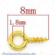 20 kleine Schrauben für Schmuck u.a. gold 8 mm