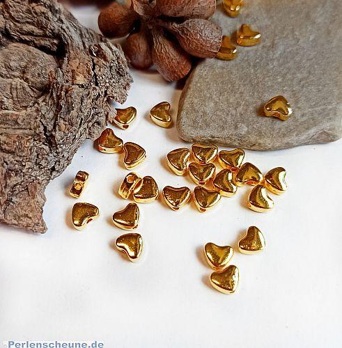 20 Metallperlen Spacer Herzperlen gold 6 mm