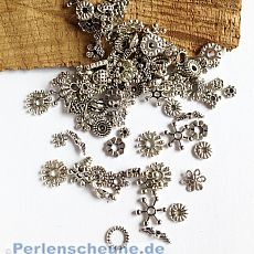 Set mit 100 filigranen Metall Spacern Metallperlen 4 - 11 mm