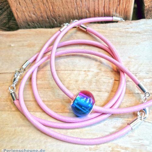 1 Modular Lederarmband in rosa Modularmband 3 mm