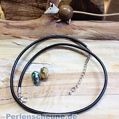 Modularperlen Halskette Leder 3 mm Grosslochperlenkette