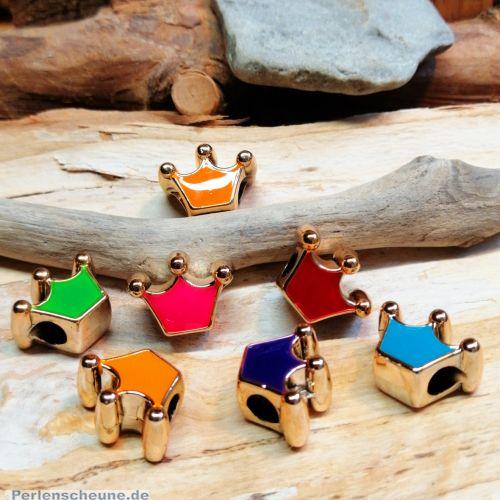 10 Modulperlen Grosslochperlen Krone gold Emaille Loch 4,5 mm