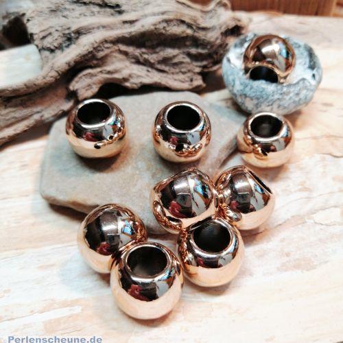 10 extra große Modulperlen Großlochperlen rosegold CCB-Acryl 15 x 12 mm Loch 8 mm