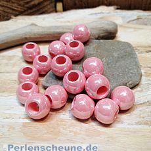 20 Modulperlen acryl Großlochperlen rosa 11 mm Loch 5 mm