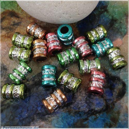20 bunte Modulperlen Grosslochperlen Acrylperlen 12 mm Metallicfarben