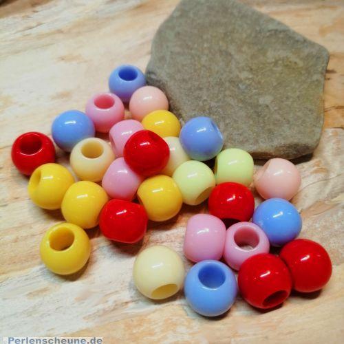 20 pastellige Kinder Modulperlen Grosslochperlen Loch 4,5 mm