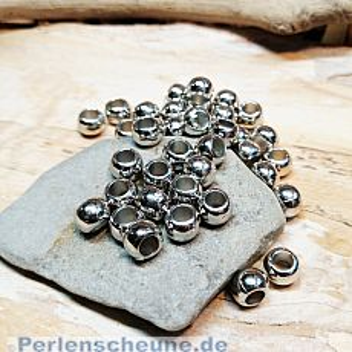 20 Spacerperlen Acryl Großlochperlen silber glänzend 7 mm Loch 3 mm