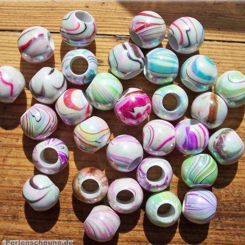 20 Modulperlen acryl Großlochperlen weiß bunt 12 mm Loch 5 mm