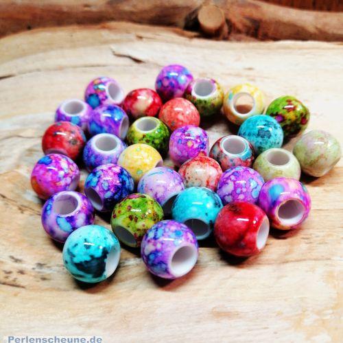 20 Modulperlen Acryl Großlochperlen bunt marmoriert 12 mm Loch 5 mm