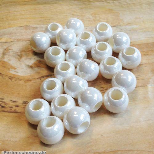 20 glänzende acryl Großlochperlen weiß 11,5 mm Loch 5 mm