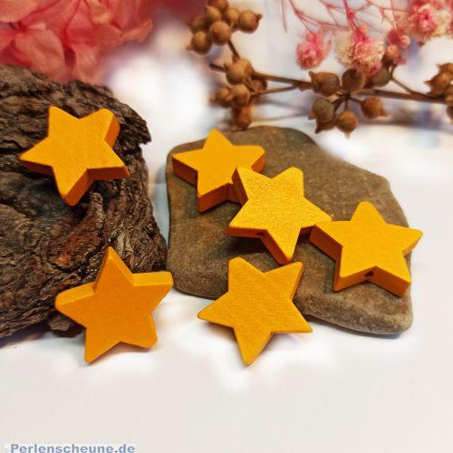10 Hinoki Holzperlen Stern in sonnengelb 20 mm Loch 0,8 mm