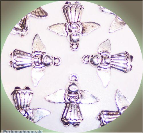 2 Metall Anhänger Engel 22 mm silber color