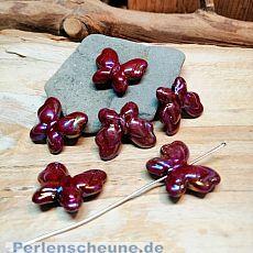 4 große Acrylperlen Schmetterlinge weinrot irisierend 22 mm