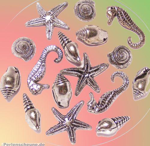Perlenset 20 große maritime Spacer Perlen 15 - 35 mm
