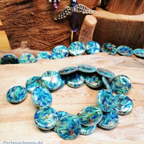 1 Strang mit 20 flachen Perlmuttperlen rund 20 mm blau marmor