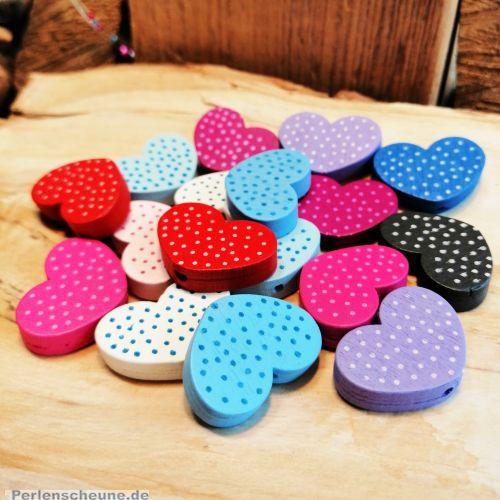 10 tolle Motivperlen Holz Herzen Farbmix gepunktet 26 mm