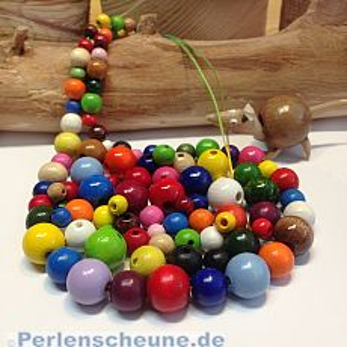 1 a - Holzperlen Mix bunt speichelfest Öko für Kinder 6 - 12 mm
