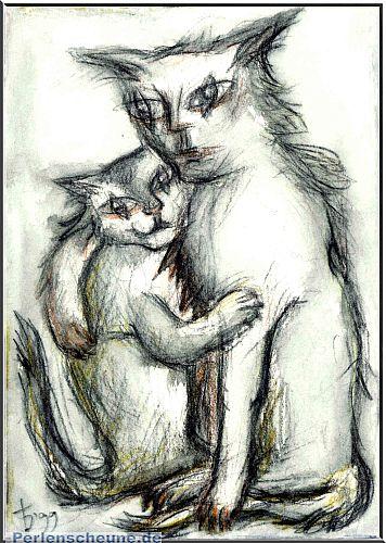Katze mit Kind - Ölpastell, Kunstbild