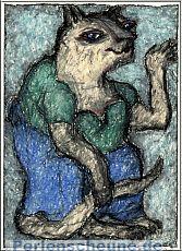 Katze im blauen Rock - Ölpastell