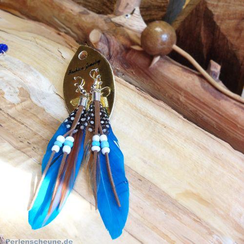 1 Paar Naturfedern Ohrringe Ohranhänger Bohostil 10 cm blau