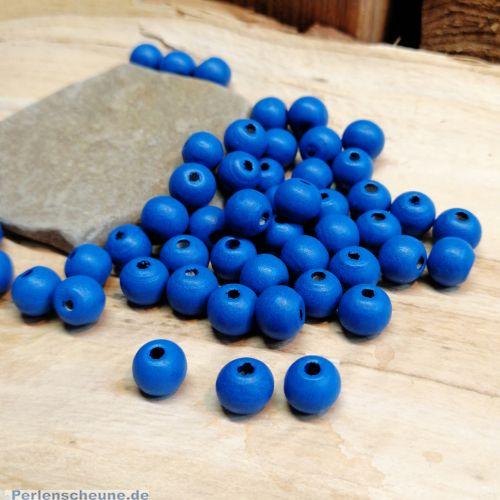 40 Hinoki Holzperlen in Royalblau 10 mm Loch 1,5 mm