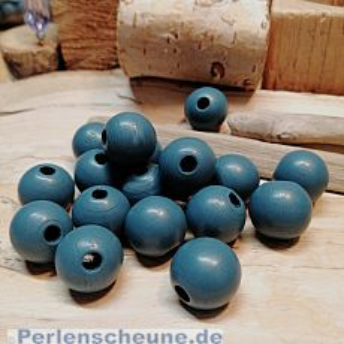 20 Hinoki Holzperlen in dunkelblau grau 16 mm Loch 4 mm