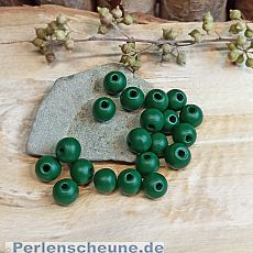 40 Hinoki Holzperlen in dunkelgrün 7 mm Loch 2 mm