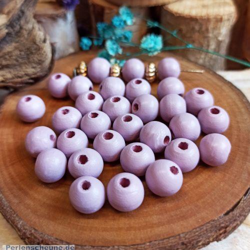 40 Hinoki Holzperlen pastell lila 10 mm Loch 2,5 mm