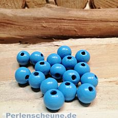 40 Hinoki Holzperlen in mittel hellblau 10 mm Loch 2,5 mm