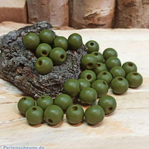 40 Hinoki Holzperlen in olivgrün 8 mm Loch 2 mm