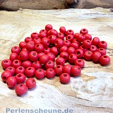 30 Hinoki Holzperlen in rot hell 8 mm Loch 2 mm