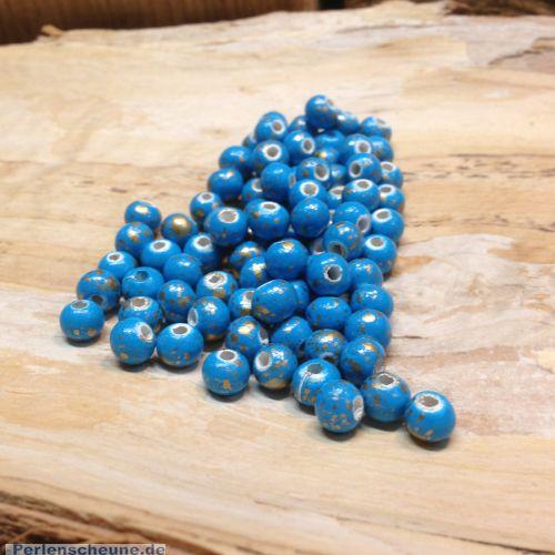 30 Hinoki Holzperlen in türkis gold 6 mm Loch 2 mm