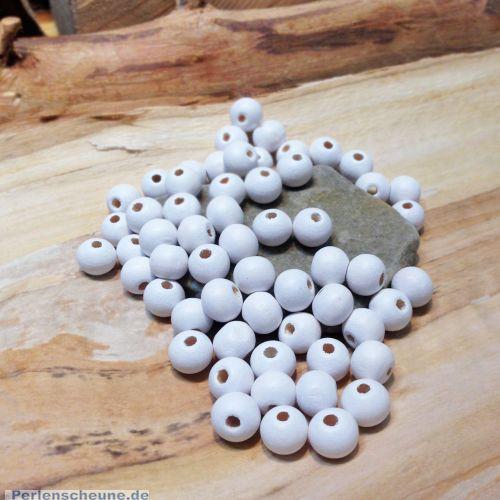 50 Hinoki Holzperlen in weiss 5 mm Loch 1 mm