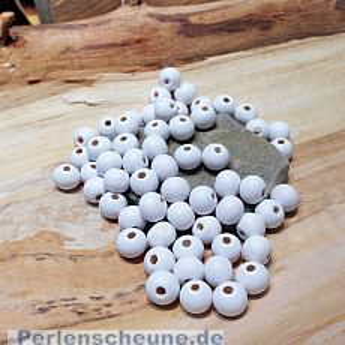 30 Hinoki Holzperlen in weiss 10 x 8 mm Loch 2 mm