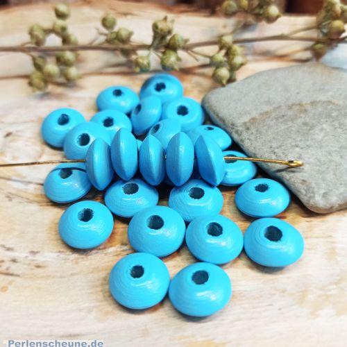 30 Hinoki Holzperlen in hellblau 12 x 6 mm Loch 3 mm
