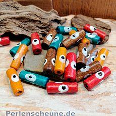 20 Holzperlen bunt mit Augen 20 x 6 mm Loch 2,5 mm