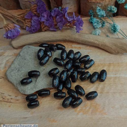 50 einfache Holzperlen in schwarz Olive 10 mm Loch 2 mm