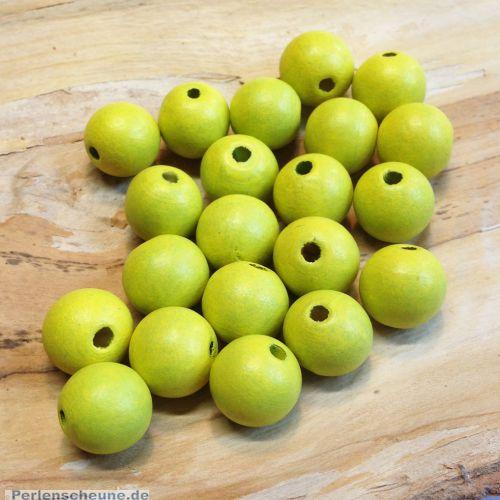 Set mit 25 Holzperlen Kugeln grün 14 mm Bastelperlen