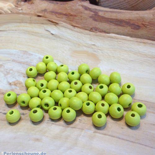 Set mit 50 Holzperlen Kugeln Lindgrün 6 mm Kinderperlen